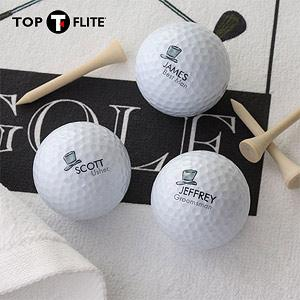 Personalized Top-Flite Golf Ball Set - Wedding Party Design