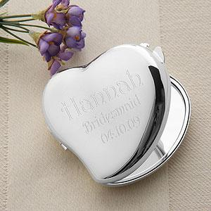 Heart Mirror Compact Personalized Bridesmaids Gift